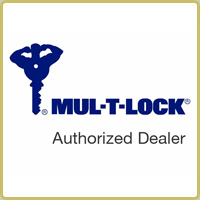MUL-T-LOCK Authorised Dealer logo featuring blue key with a strongman handle